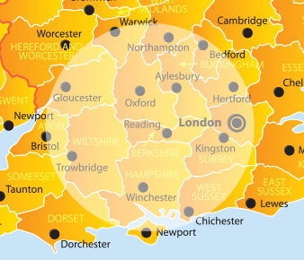 Basingstoke, Southampton, Reading, Winchester, Portsmouth, Oxford, Andover, Bracknell, Guildford, Newbury, Slough, Bournemouth, Poole, Bristol.